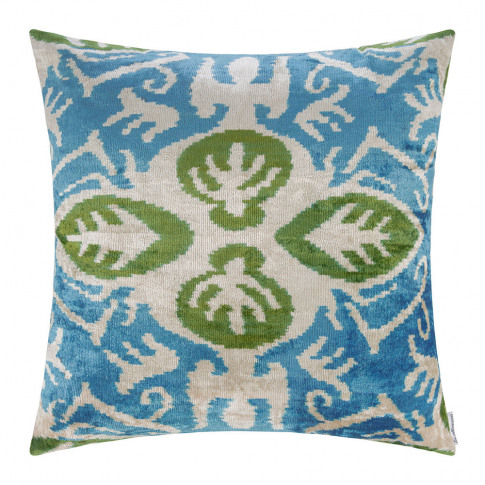 Les Ottomans - Velvet Cushion - 60x60cm - Blue/Green...