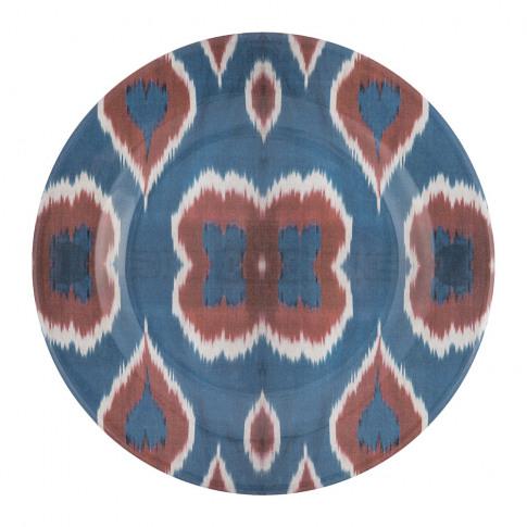 Les Ottomans - Ceramic Ikat Dinner Plate - Blue/Red