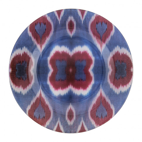 Les Ottomans - Ikat Glass Plate - Blue/Red