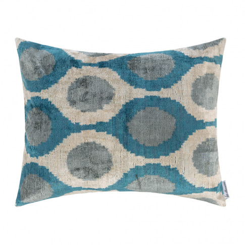 Les Ottomans - Velvet Cushion - 40x50cm - Blue/White Oval Pattern