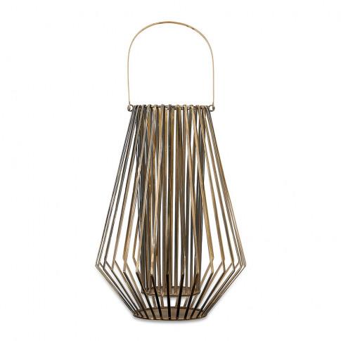Nkuku - Atu Conical Wire Lantern - Aged Brass - Large
