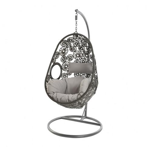 A By Amara - Outdoor Woven Hanging Chair - Dark Grey
