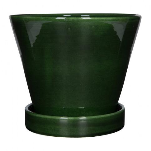 Bergs Potter - Julie Plant Pot And Saucer - Green - 17cm