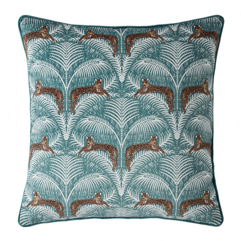 Fat Face - Lounging Leopards Cushion - Fern Green - ...