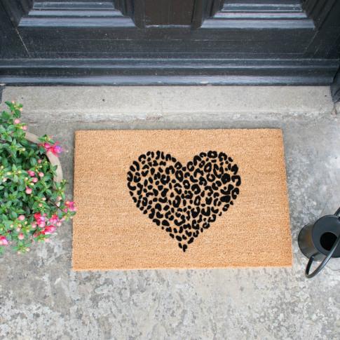 Artsy Doormats - Leopard Heart Doormat - Grey