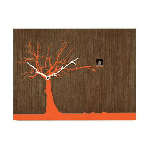 Progetti - Cucuruku Wall Clock - Wenge Wood/Orange