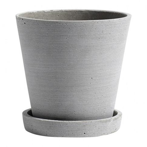 Hay - Polystone Flowerpot & Saucer - Grey - M