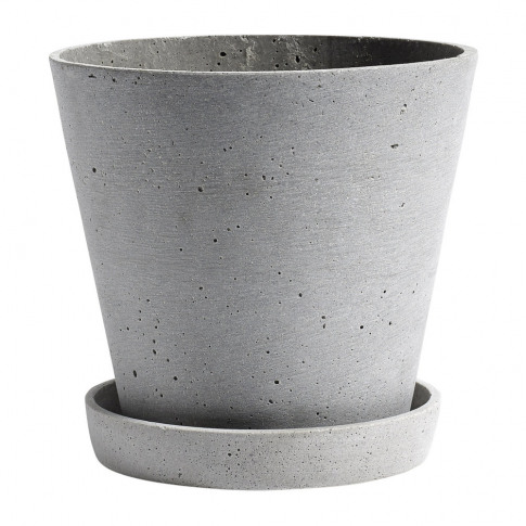 Hay - Polystone Flowerpot & Saucer - Grey - L