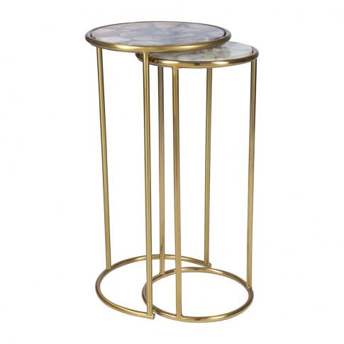 A By Amara - Round Dark Agate Side Tables - Set Of 2
