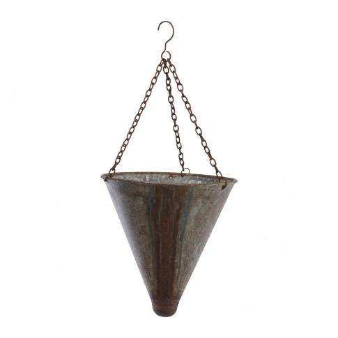 Nkuku - Abari Tapered Hanging Planter - Aged Zinc - Small