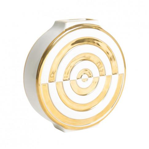 Jonathan Adler - Futura Bullseye Vase - White & Gold