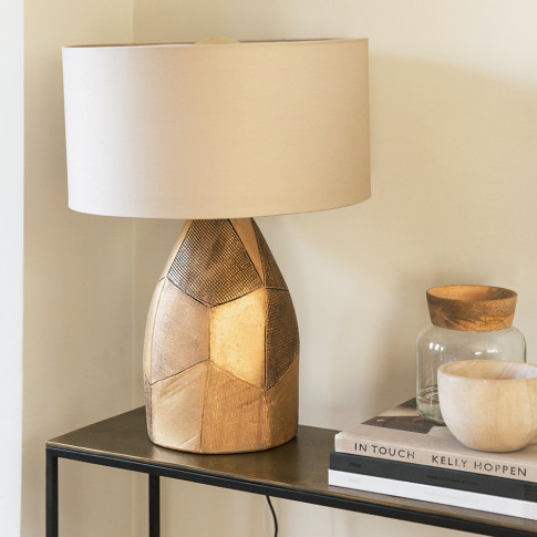 Parlane - Patterned Gold Ceramic Table Lamp