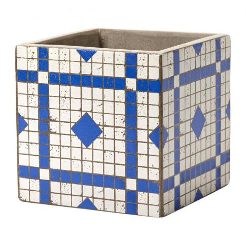 Serax - Marie Mosaic Blue/White Square Plant Pot - 17cm