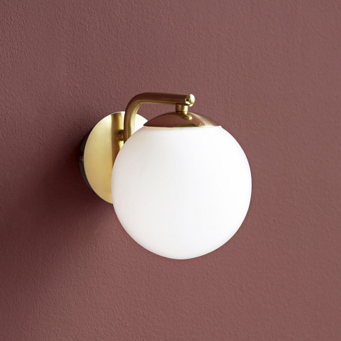 A By Amara - Grant Wall Light - Opal White/Brass