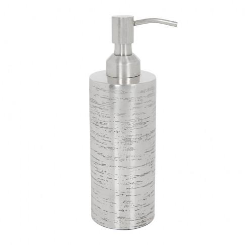 A By Amara - Antique Silver Textured Soap Dispenser