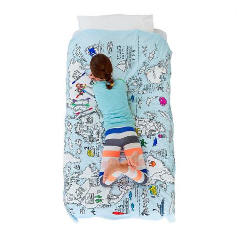 Eat Sleep Doodle - World Map Duvet Cover - Single