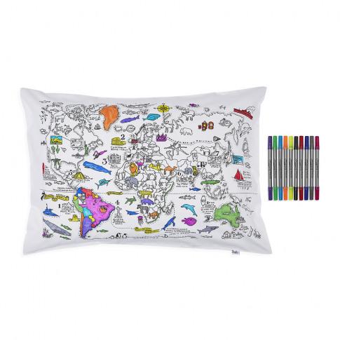 Eat Sleep Doodle - World Map Pillowcase - 75x50cm