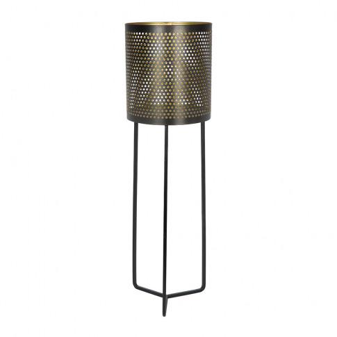 A By Amara - Black & Gold Raised Iron Planter - Tall