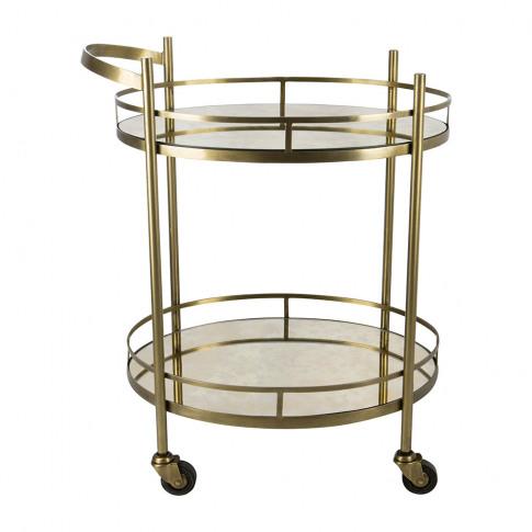 A by Amara - Antique Brass Mirror Drinks Trolley