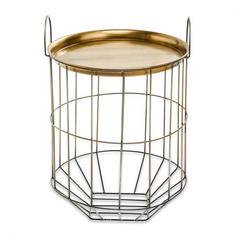 Nkuku - Tor Side Table - Antique Brass/Grey