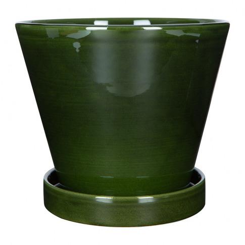 Bergs Potter - Julie Plant Pot And Saucer - Green - ...