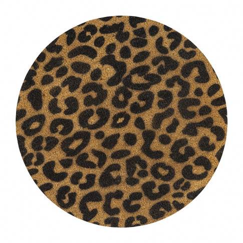Artsy Doormats - Leopard Print Circle Door Mat - Black