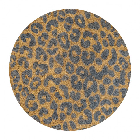 Artsy Doormats - Leopard Print Circle Door Mat - Grey
