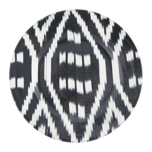 Les Ottomans - Ceramic Ikat Dessert Plate - Black/White