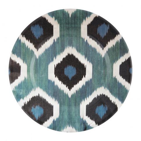 Les Ottomans - Ceramic Ikat Dessert Plate - Blue/Black