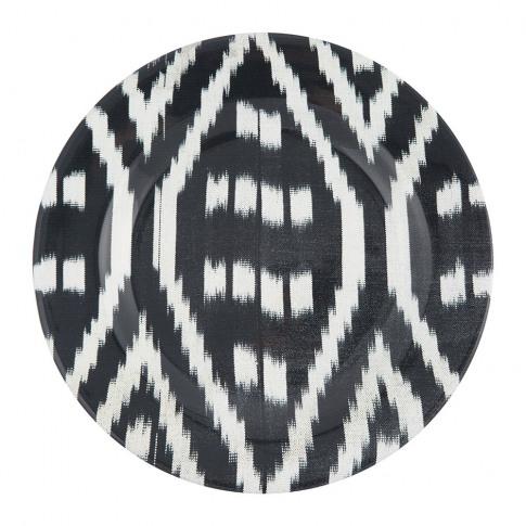 Les Ottomans - Ceramic Ikat Dinner Plate - Black/White