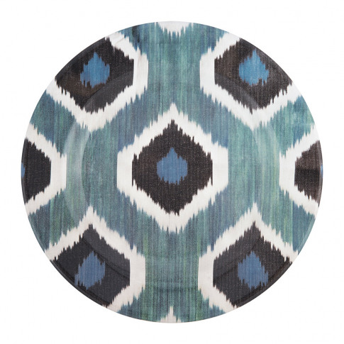 Les Ottomans - Ceramic Ikat Dinner Plate - Blue/Black