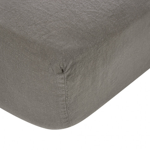 Soho Home - Luna Linen Fitted Sheet - Charcoal - Sup...