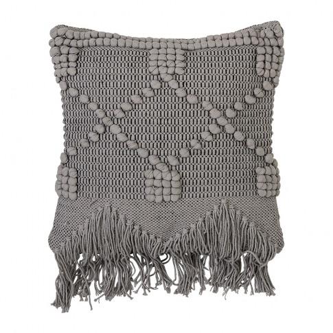 Bloomingville - Grey Tassel Cotton Cushion - 50x45cm