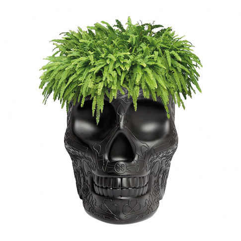 Qeeboo - Mexico Skull Small Planter - Black