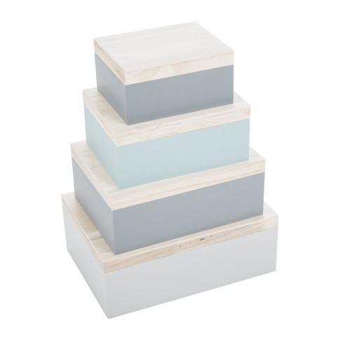 Bloomingville - Mint/Grey Storage Boxes - Set of 4