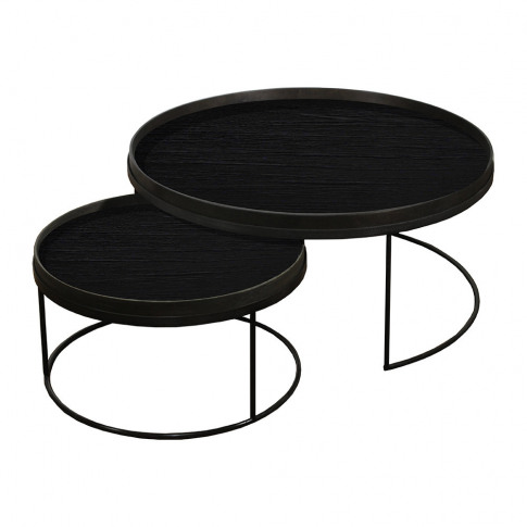 Ethnicraft - Round Tray Table - Set Of 2 - Extra Lar...