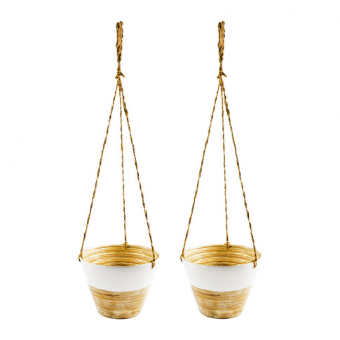 Iron & Clay - Hanging Bamboo Planter - Set Of 2 - White