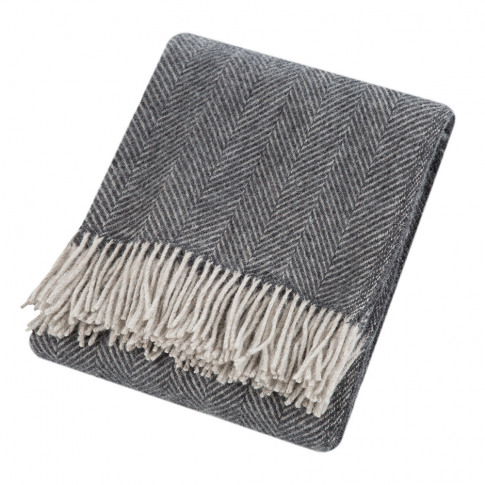 Tweedmill - Herringbone Wool Throw - Charcoal/Silver