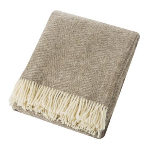 Bronte By Moon - Natural Pure Wool Throw - Herringbo...