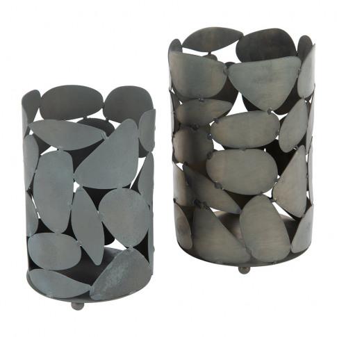 Marinette Saint Tropez - Iron Votives - Set Of 2 - Grey