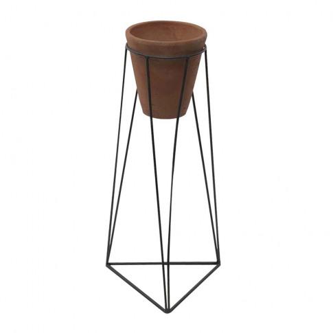 Nkuku - Jara Terracotta Planter & Iron Stand - Small