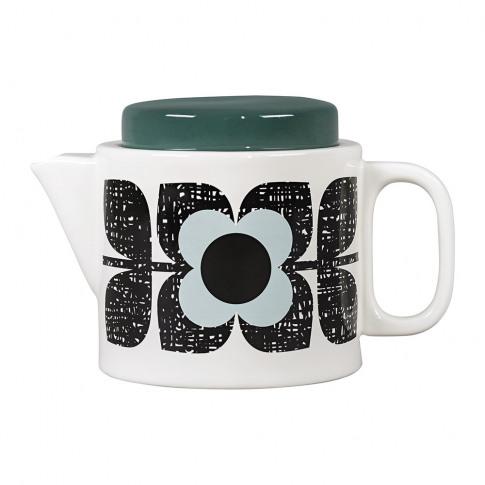 Orla Kiely - Enamel Scribble Square Flower Teapot - Aqua