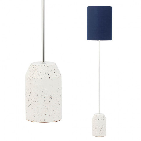 Rizzo Terrazzo Base Floor Lamp With Blue Cylinder Shade