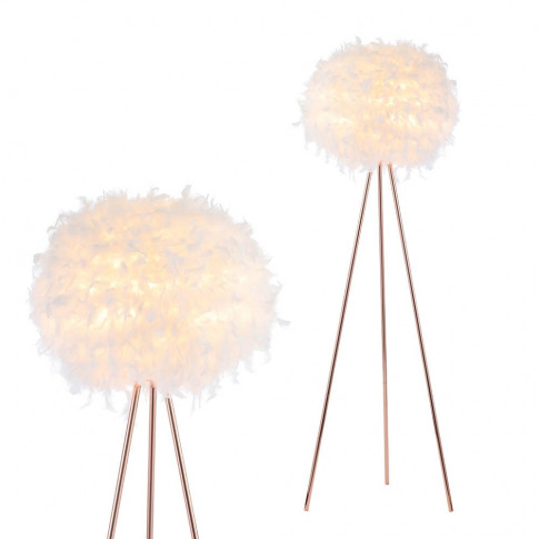 Plume Feather Tripod Floor Lamp, Rose Gold