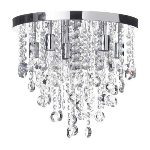Cirrus Large Bathroom Flush Ceiling Light, Chrome