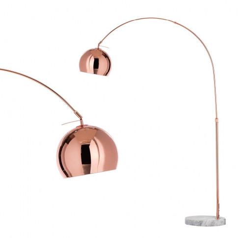 Clara Arc Floor Lamp, Copper & White