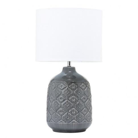 Cosgrove Patterned Ceramic Table Lamp, Dark Grey