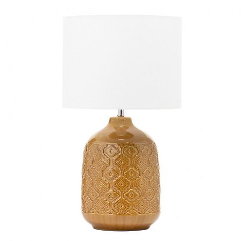 Cosgrove Patterned Ceramic Table Lamp, Mustard Yellow