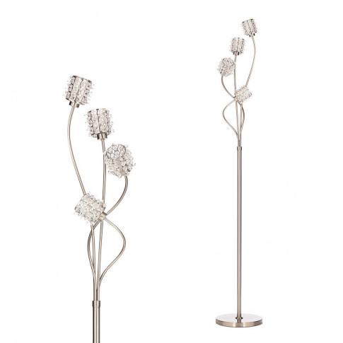Julianne Crystal Cylinder Floor Lamp, Satin Nickel