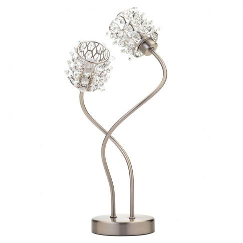 Julianne Crystal Cylinder Table Lamp, Satin Nickel